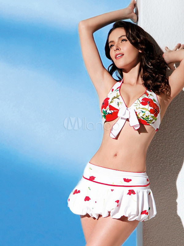 Halter Floral Zweiteiler Bikini Badeanzug mit Röckchen - Milanoo.com 9d0d541f40
