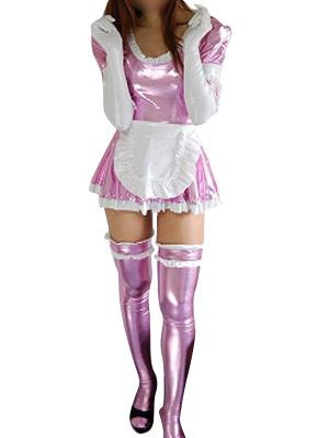 Halloween Pink French Maid Dress Sexy Shiny Metallic Costume Halloween