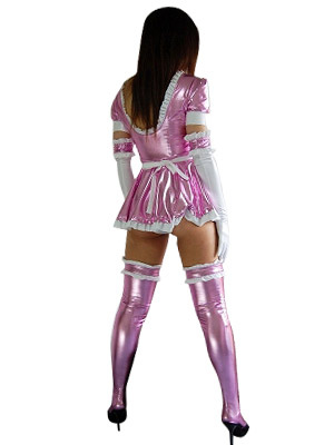 7ac22e51d6ac ... Halloween Pink French Maid Dress Sexy Shiny Metallic Costume  Halloween-No.5 ...
