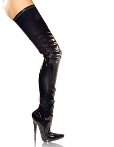 High Heel Black Patent Thigh High Sexy Boots