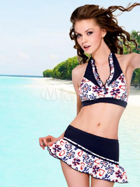 cc08c5b36140 Vestido de Azul Profundo falda de flores dos piezas de baño bikini