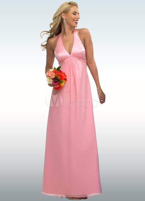 Vestido de gasa atractivo imperio cintura de raso vestido de noche ...