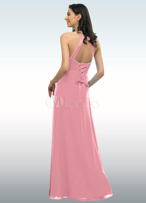 Attractive halter empire waist chiffon satin evening dress for Halter empire waist wedding dresses