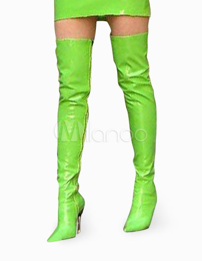 Buy 4 1/2'' High Heel Green Patent Thigh High Sexy Non-Platform Boots for $82.64 in Milanoo store