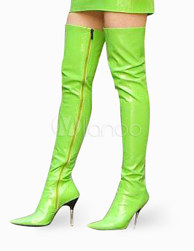 4 1 2 high heel green patent thigh high non