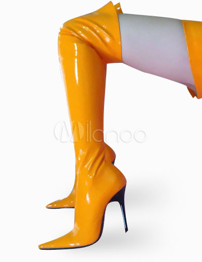 High Heel Yellow Patent Thigh High Sexy Non-Platform Boots ...