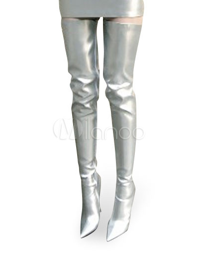 High Heel silver Patent Thigh High Sexy Non-Platform Boots