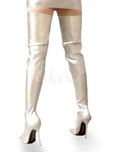 high heel silver patent thigh high sexy nonplatform boots