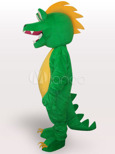 dinosaurio verde corto mascota de peluche para adultos de disfraces de halloween divertidono