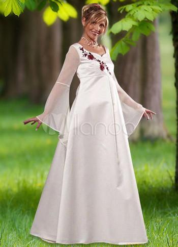 Otoño blanco manga larga novia de raso de maternidad vestido de ...