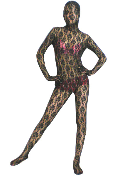 9f154b679 Halloween Black Transparent Lace Velvet Zentai Suit Halloween-No.1