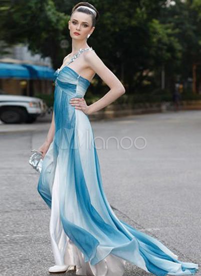 716bded3d5f Bleu Blanc A-ligne bretelles en mousseline de soie robe de soirée ...