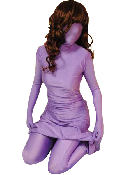 Purple Lycra Spandex Dress and Pants Halloween cosplay costume Morphsuits Halloween