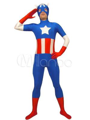 Halloween Captain America Lycra Spandex Super Hero Costume Halloween