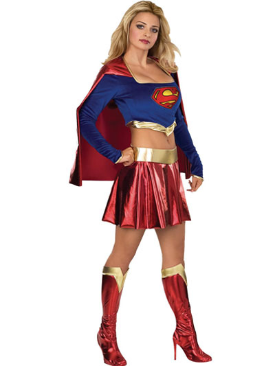 Halloween Super Girl Lycra Shiny Metallic Super Hero Costume Halloween