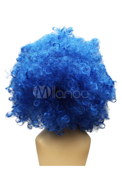 Women s Blue Short Afro Cosplay Wig - Milanoo.com 9449120b38