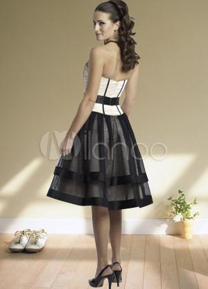 Magnífico Blanco y Negro Vestido de novia de raso organza vestido de ...
