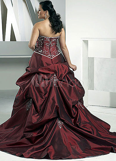 Deep Burgundy Strapless Embroidery Beading Plus Size