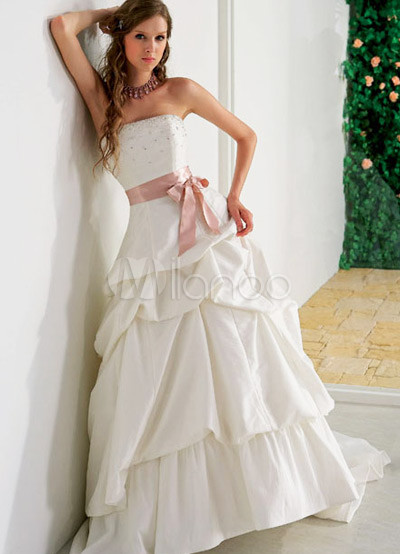 vestido de novia strapless rebordear franja tafetán blanco bola