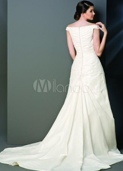 Formal white off the shoulder v neck beading taffeta for Off the shoulder taffeta wedding dress