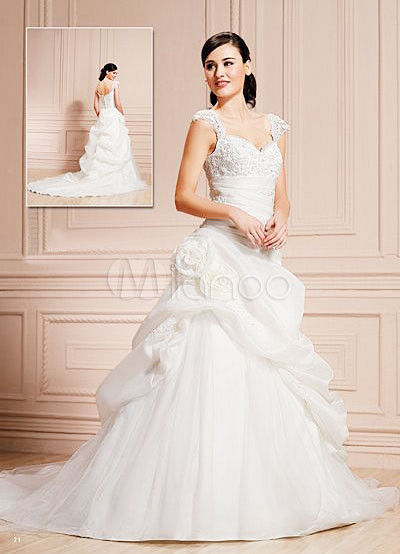 vestido de novia de la flor ball rebordear tafetán bordado de
