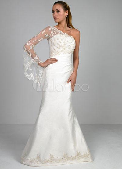 euro blanco sirena estilo trompeta vestido de raso bordado de encaje