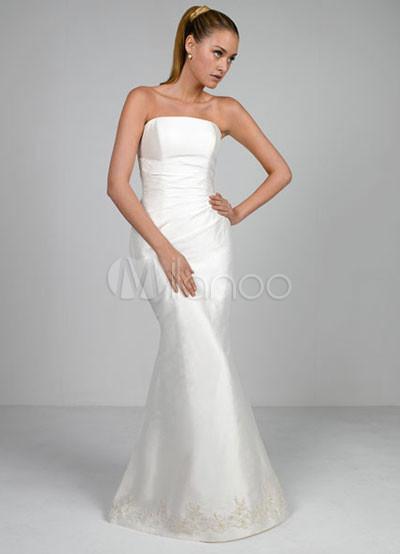 Euro Blanco sirena estilo trompeta Vestido de raso bordado de encaje ...