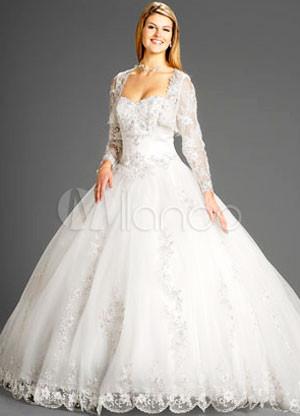 encaje otoño bola vestido bolero novia rebordear bordado satinado