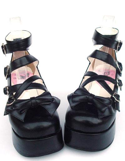 Sweet Matte Black Lolita High Platform Shoes Ankle Straps Heart Shape Buckles Bow