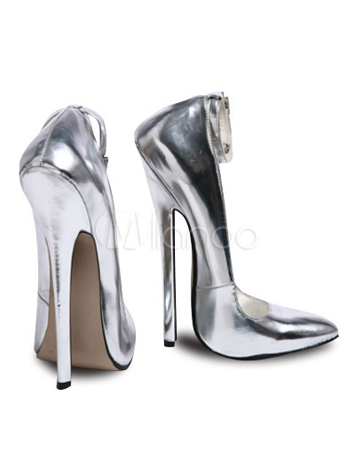 7 1/10'' High Heel Ankle Straps Silver Patent Pumps - Milanoo.com
