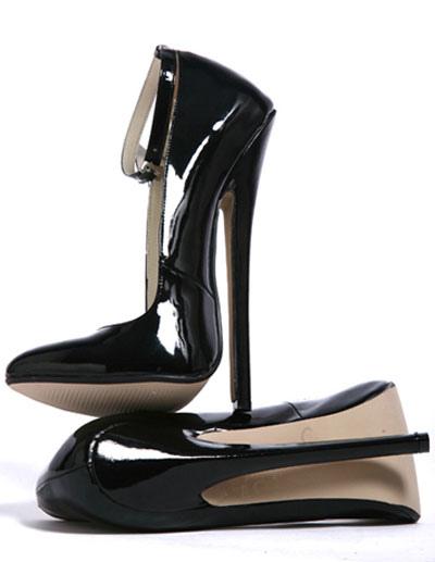 High Heel Black Ankle Straps Patent Pumps