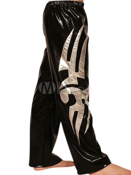 Halloween Shiny Black Silver Wrestling Pants Men's Bodysuit Halloween