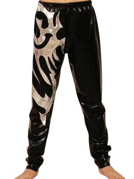 Halloween Black Silver Pattern Shiny Metallic Wrestling Pants Halloween