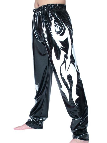 Halloween Black White Pattern PVC Wrestling Pants Halloween