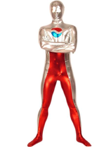 Halloween Silver And Red Shiny Metallic Pepsi Zentai Suit Costume ...