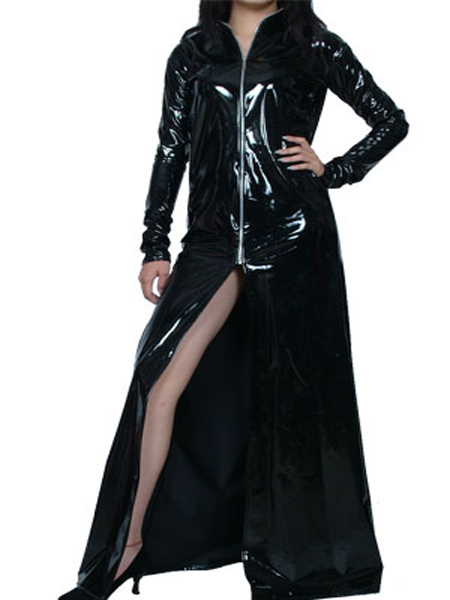 Halloween Sexy Black Long Sleeves Front Zipper PVC Dress Halloween