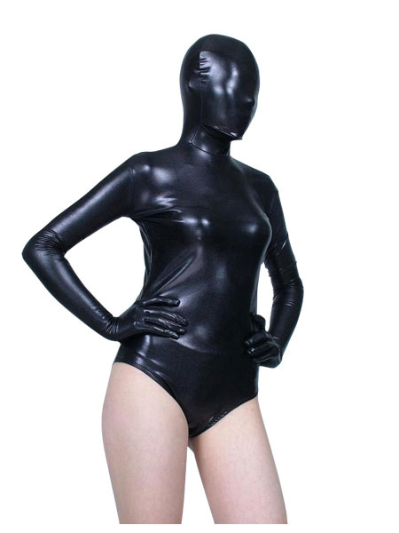 Halloween Black Shiny Metallic Leotard Zentai Half Suit Halloween