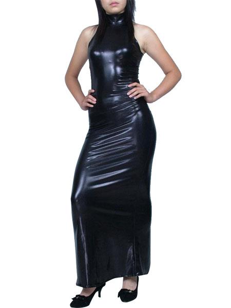 Halloween Unicolor Black Shiny Metallic Dress Halloween