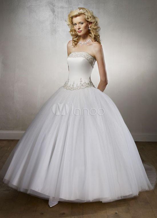 e08d112f7 Vestidos de novia · Estilo Euro balón vestido sin tirantes de listones de  organza de raso bordado del vestido de ...