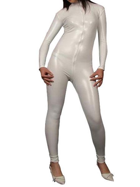 Sexy White Shiny Metallic Catsuit for Halloween Halloween
