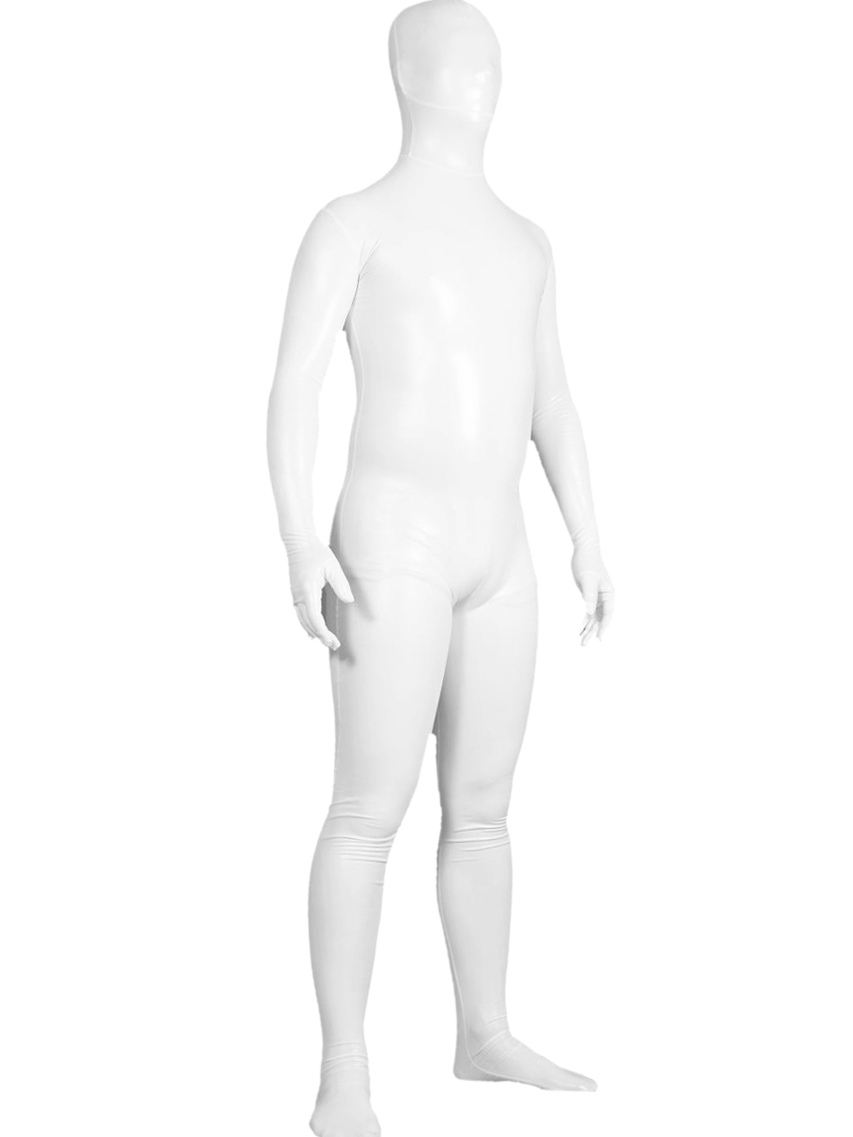 Buy Halloween White Shiny Metallic Unisex Zentai Suit Halloween for $30.39 in Milanoo store