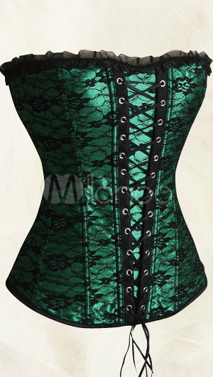 Green Lace Satin Sexy Corsets
