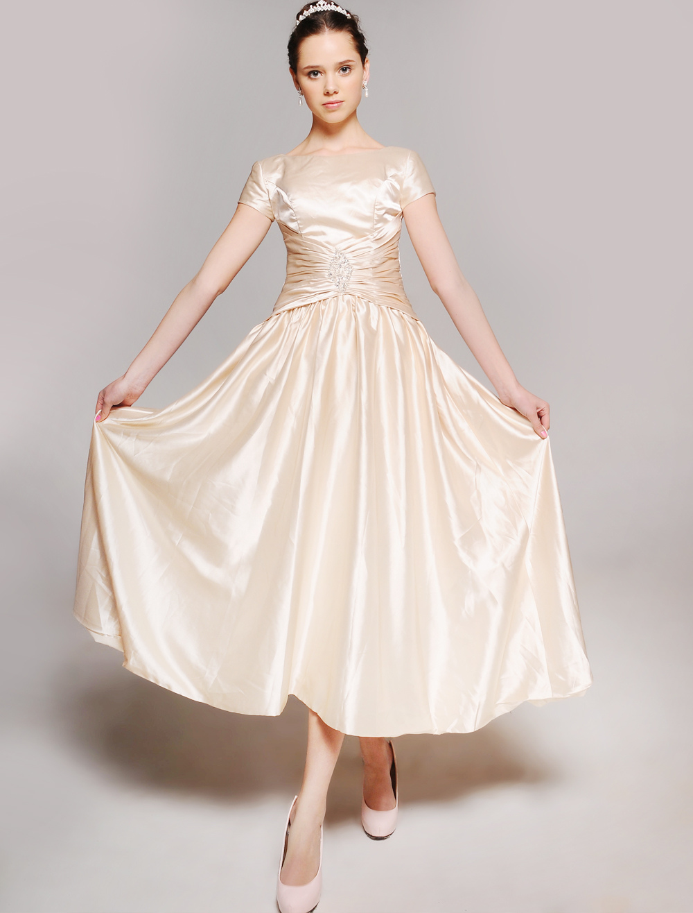 Champagne Mother of the Bride Dress Sequins Lace-up Satin Dress