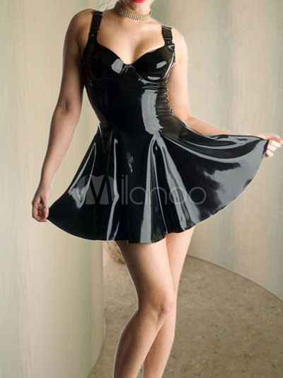 92c3e246b Vestido de látex preto de Cheerleader - Milanoo.com