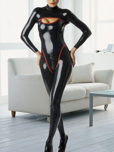 Sexy Latex Catsuit Black Long Sleeves Catwoman Bodysuit Halloween Costume Halloween