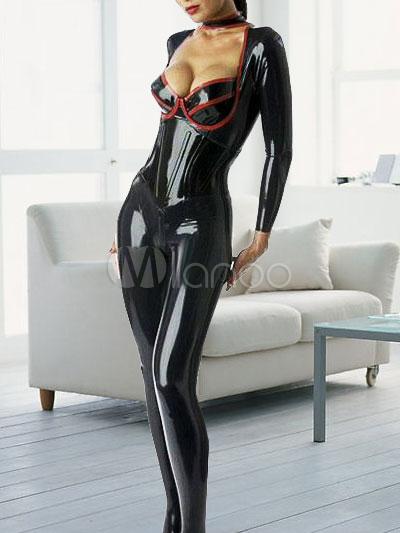 Halloween Sexy Black Latex Catsuit Low Cut Bodysuit for Woman Halloween