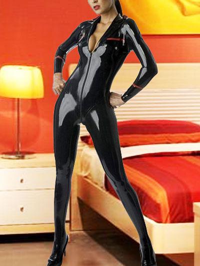 Sexy Black Latex Catsuit Halloween Cat Woman Bodysuit Zipper Costume  Halloween