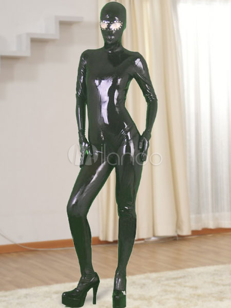 Halloween Black Full Body Latex Catsuit with Open Eyes and Zippered Open Crotch Halloween