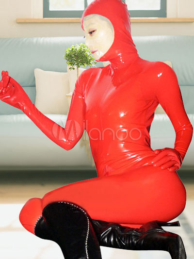 Halloween Red Full Body Latex Catsuit with Open Face Halloween