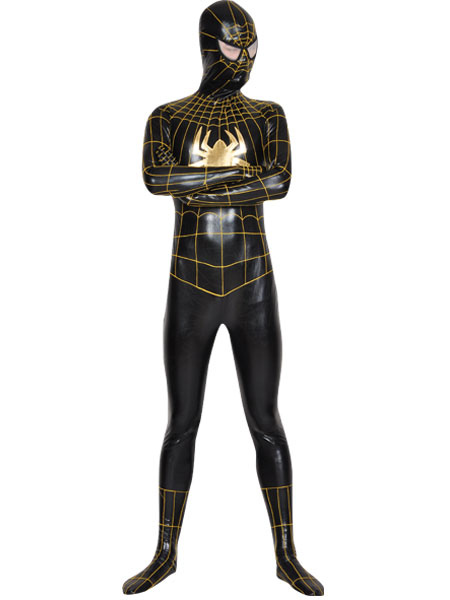 Halloween Spiderman Superhero Shiny Black Gold Zentai Suit Unisex Costume Halloween
